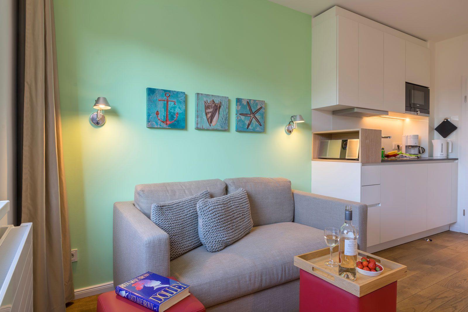 Wohnzimmer und Kueche Apartment Nautilus