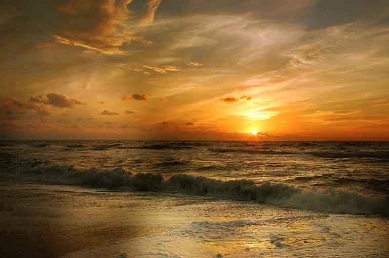 Strand, Meer, Sonnenuntergang