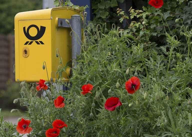 gelber Postbriefkasten und rote Mohnblüten